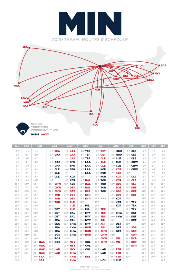 Target Field / MIN<br>2020 Routes & Schedule