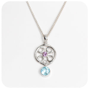 Amethyst and Sky Blue Topaz Pendant in Sterling Silver