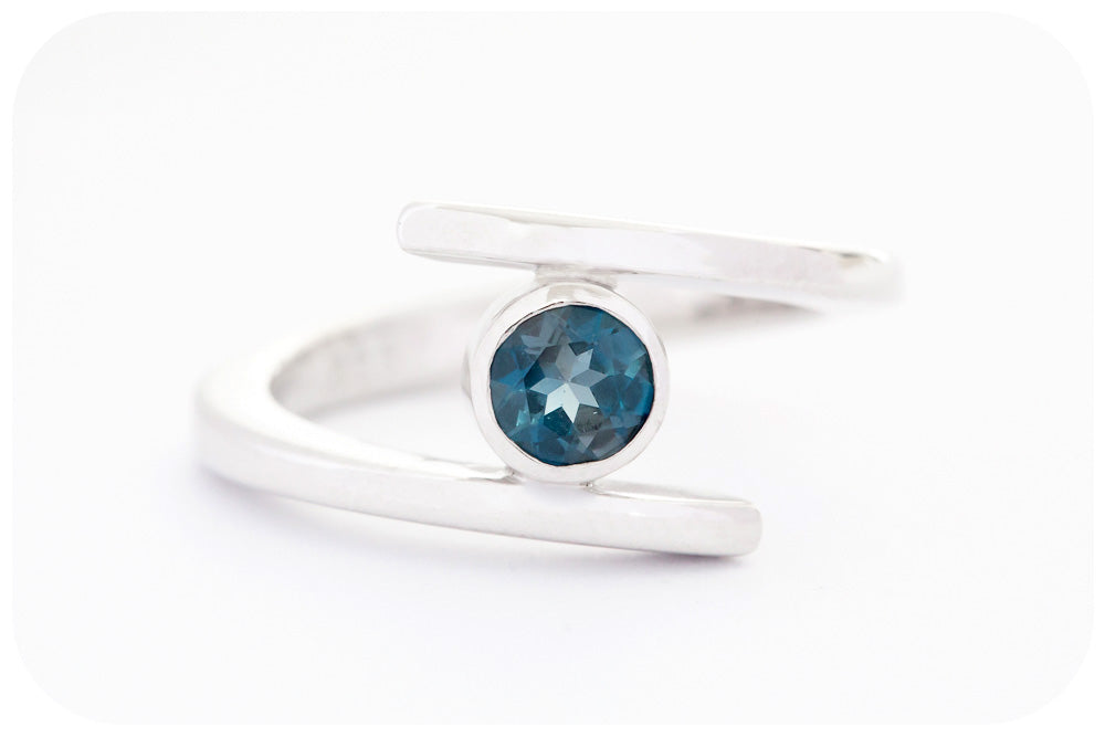 Round Cut London Blue Topaz Split Band Ring in Sterling Silver