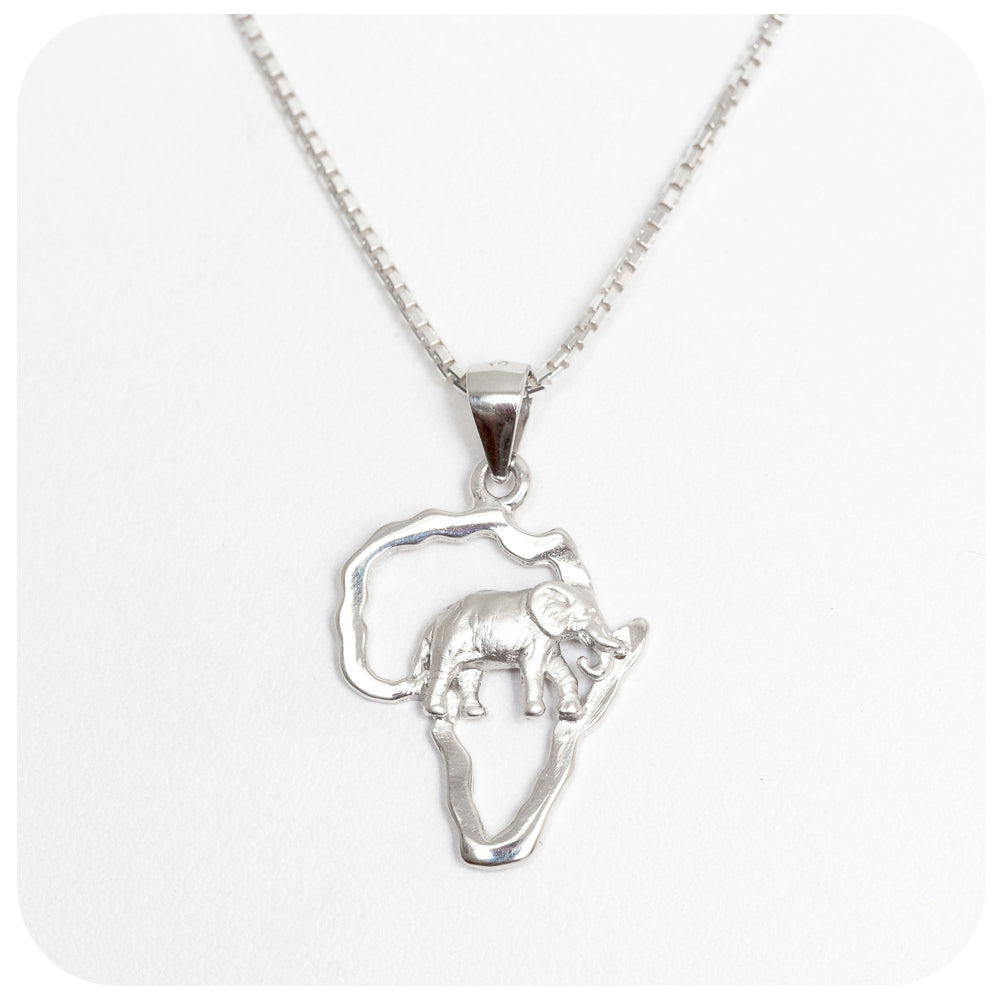 Africa Map Pendant with Elephant in Sterling Silver - Victoria's Jewellery