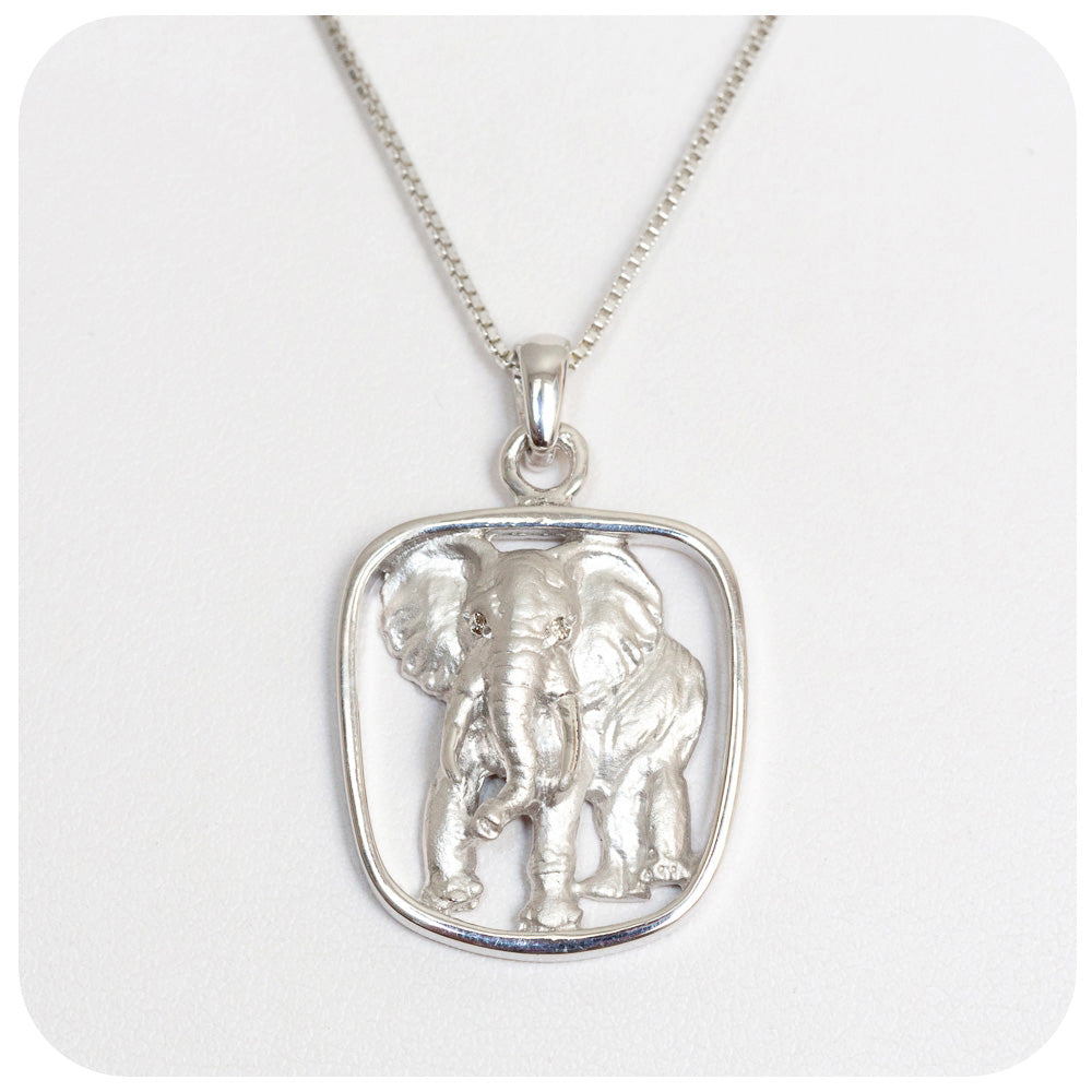 Beautifully Detailed full body Elephant Pendant in Sterling Silver - Victoria's Jewellery