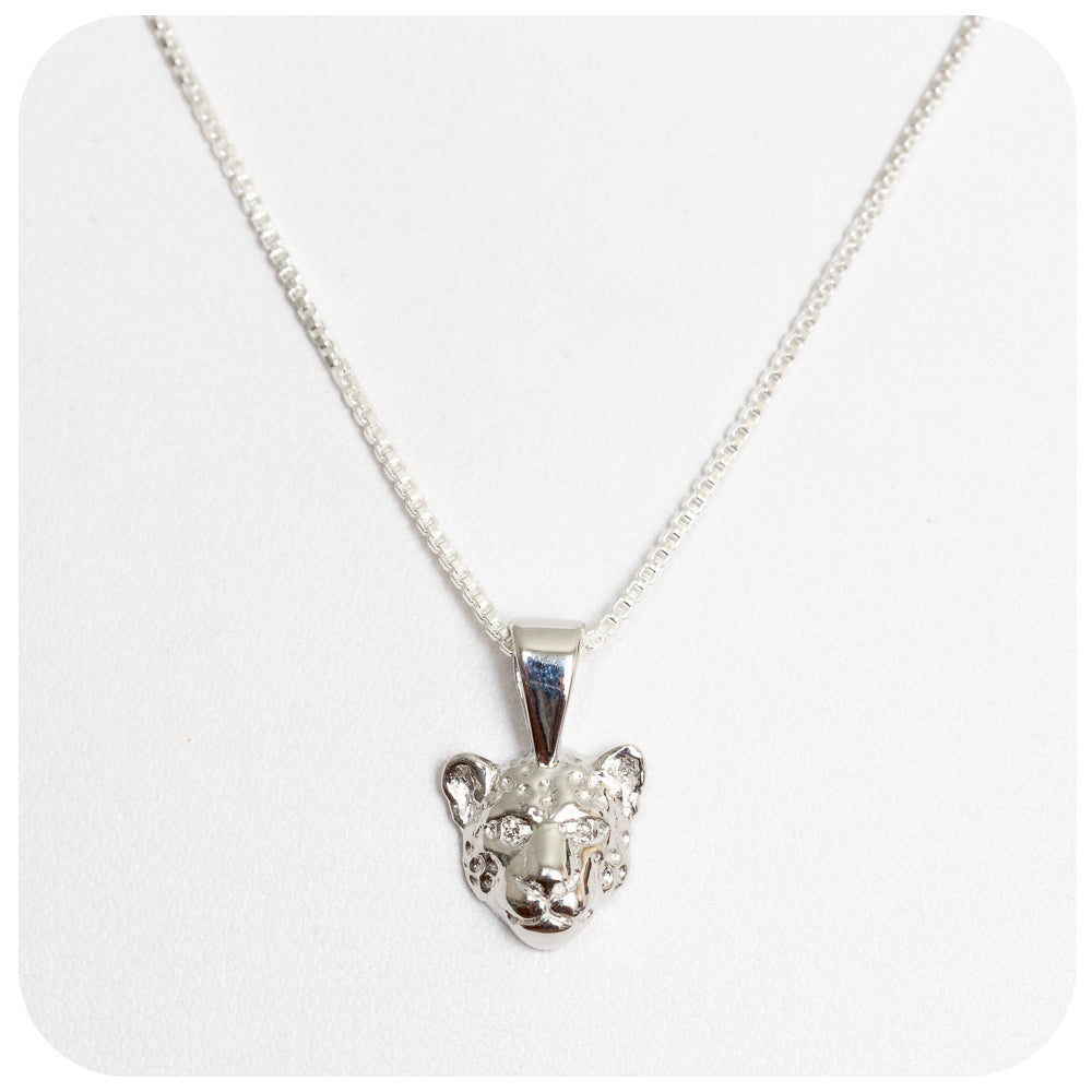 Leopard Head Pendant with Diamond Eyes - Victoria's Jewellery