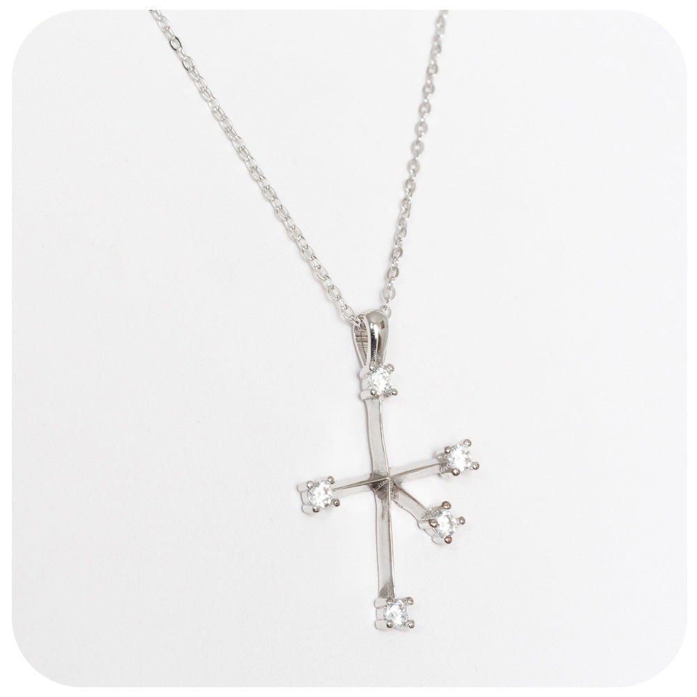 Southern Cross Pendant and Chain set with Sparkling Cubic Zirconias in 925 Sterling Silver - Victoria's Jewellery