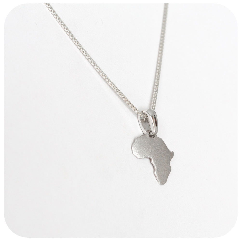 Africa Map Pendant - Brushed Finish - Victoria's Jewellery