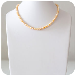 Incredibly Lustrous Gold Japanese Akoya Pearl Necklace with a 9k Yellow Gold Clasp - 5.5 - 6mm