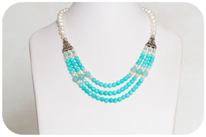 Amazonite and Pearl Necklace - Victoria's Jewellery