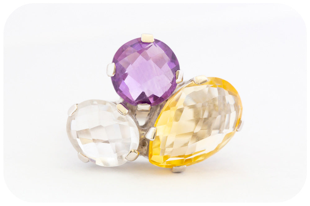 Statement Amethyst, Citrine and Quartz Ring Crafted in 925 Sterling Silver - Victoria's Jewellery