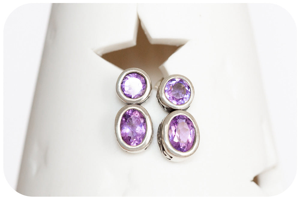 Petite Hand Made Amethyst Stud Earrings in 925 Sterling Silver - Victoria's Jewellery