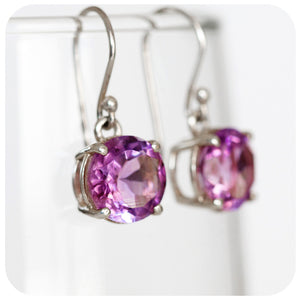 Gently Toned Round Cut Amethyst Dangling Earring in 925 Sterling Silver - Victoria's Jewellery