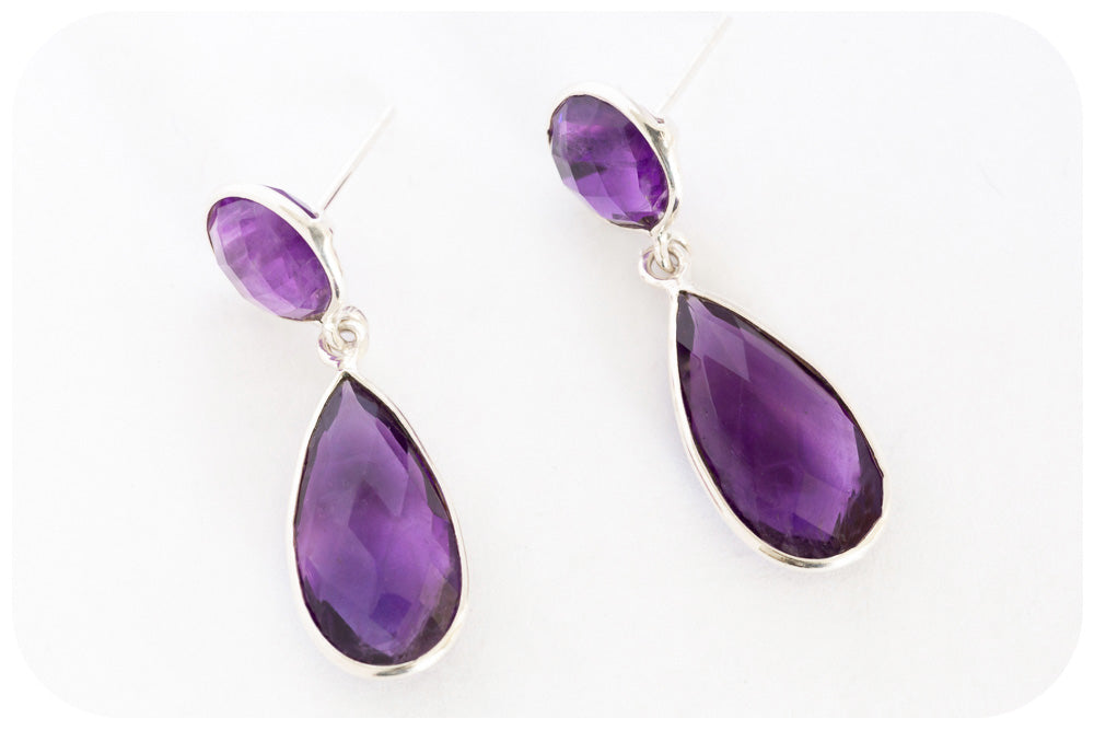 Top Faceted Amethyst Round and Pear Drop Earrings crafted in a whisper of 925 Sterling Silver - Victoria's Jewellery