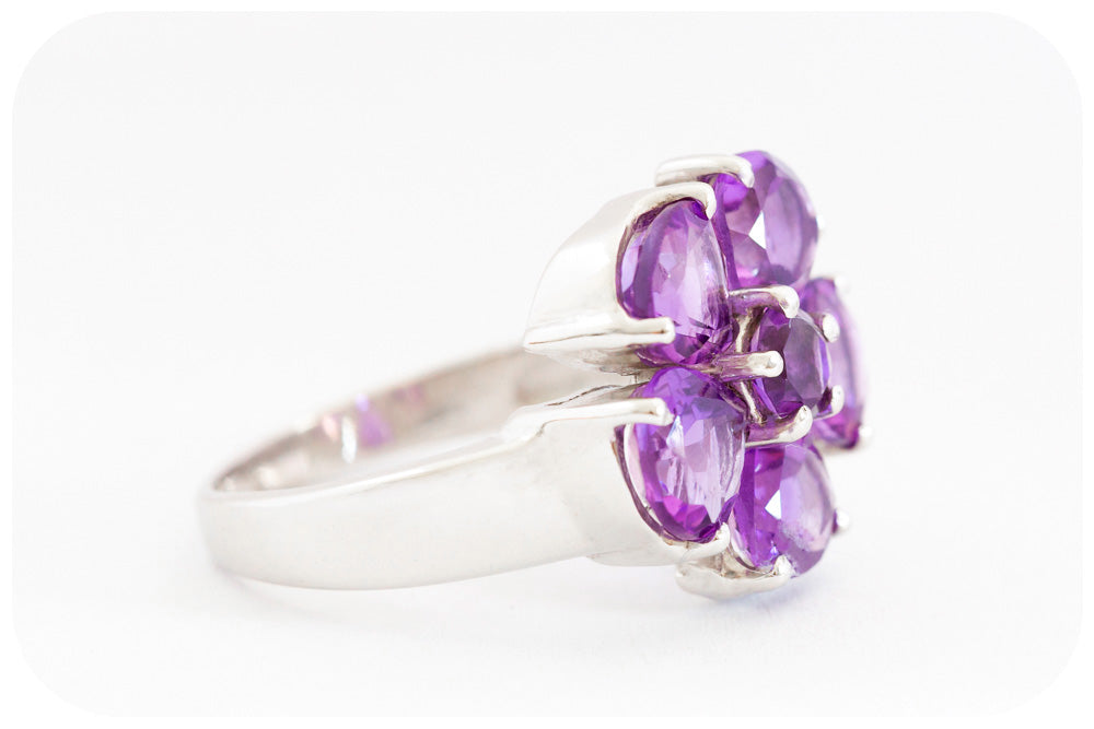 Amethyst Pear Cut  Flower Ring Beautifully Crafted in 925 Sterling Silver - Victoria's Jewellery