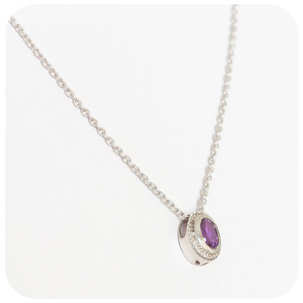 Fairylike Solitaire Amethyst Pendant and Chain in 925 Sterling Siver - Victoria's Jewellery