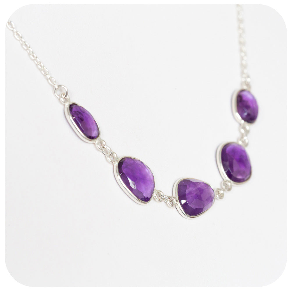 Richly Colored Amethyst Necklace Hand Made in 925 Sterling Silver - Victoria's Jewellery
