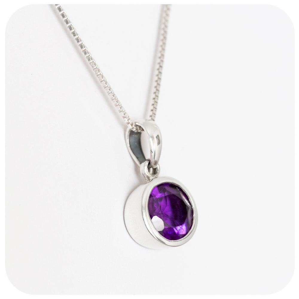 Round Cut Amethyst Pendant Wrapped in Sterling Silver - Victoria's Jewellery