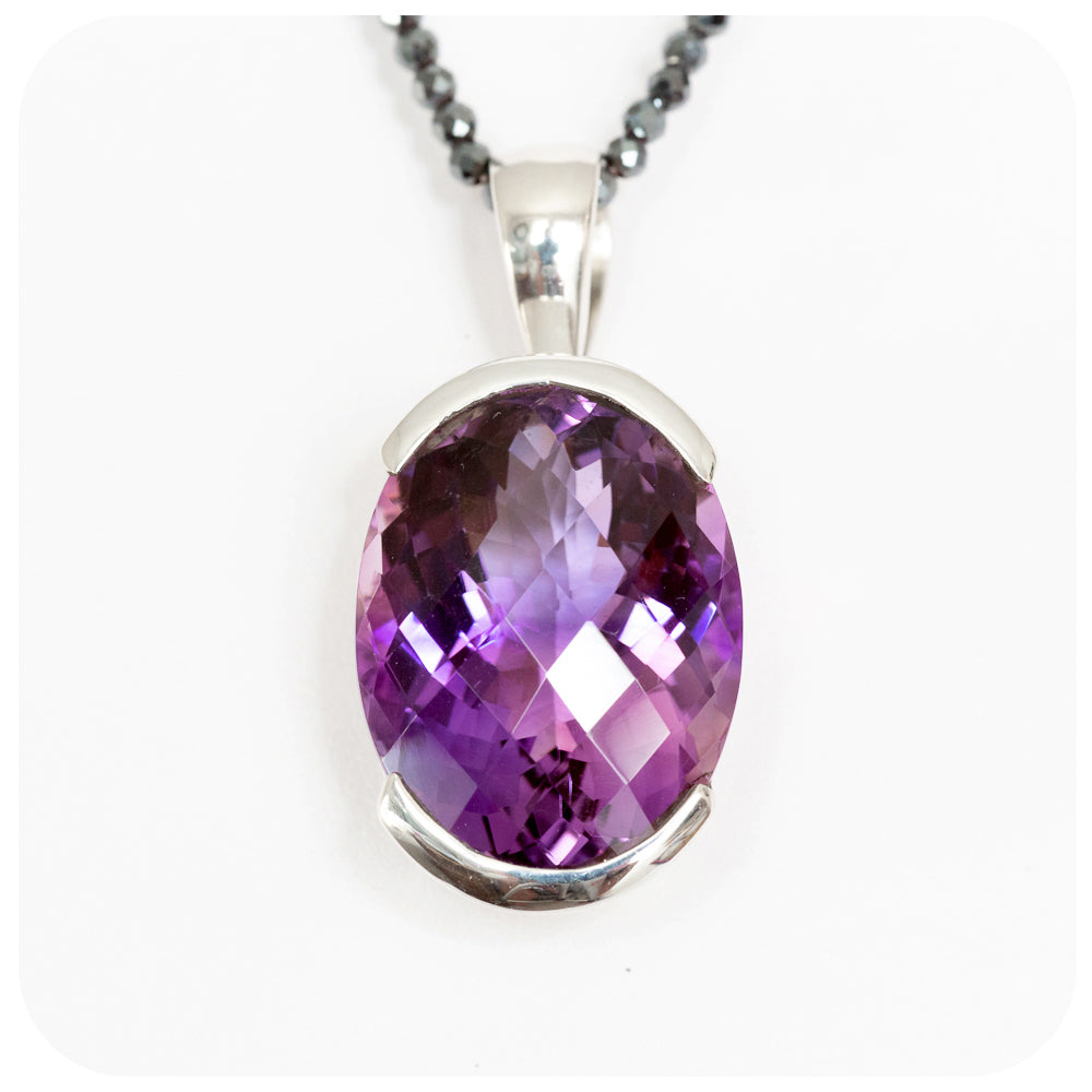 The Spectacular 21x17mm Oval Amethyst Pendant Crafted in 925 Sterling Silver - Victoria's Jewellery