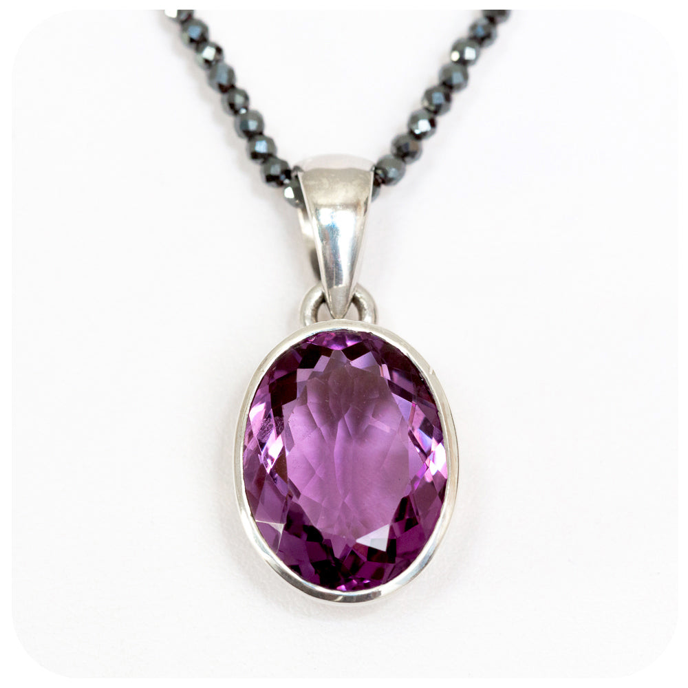 Luscious 16x13mm Oval Amethyst Pendant crafted in 925 Sterling Silver - Victoria's Jewellery
