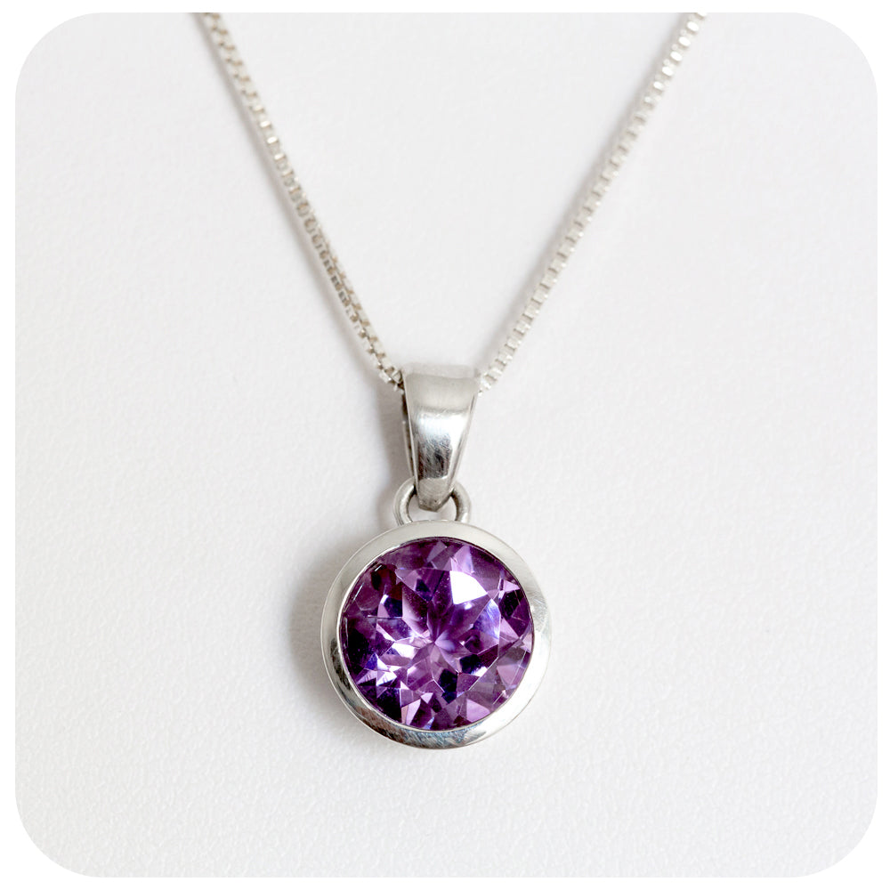 Round Cut Brilliant Amethyst Set in Sterling Silver - Victoria's Jewellery