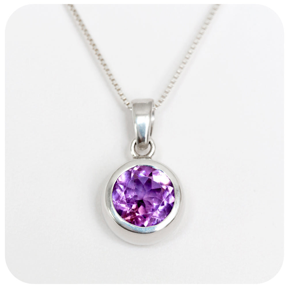 9mm Round Amethyst Pendant Handmade in 925 Sterling Silver - Victoria's Jewellery
