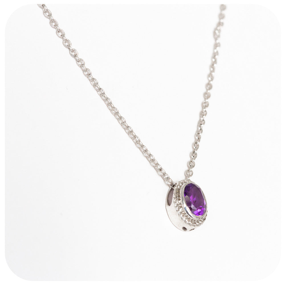 Fairylike Oval Cut Solitaire Deep Amethyst Pendant and Chain in 925 Sterling Silver - Victoria's Jewellery