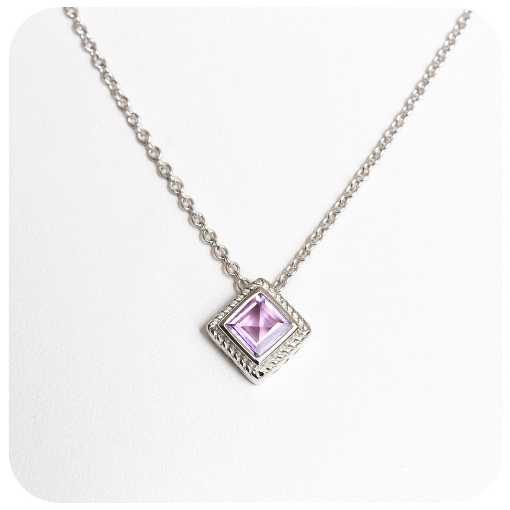 Gently Toned Princess Cut Amethyst Solitaire Pendant and Chain in 925 Sterling Silver - Victoria's Jewellery