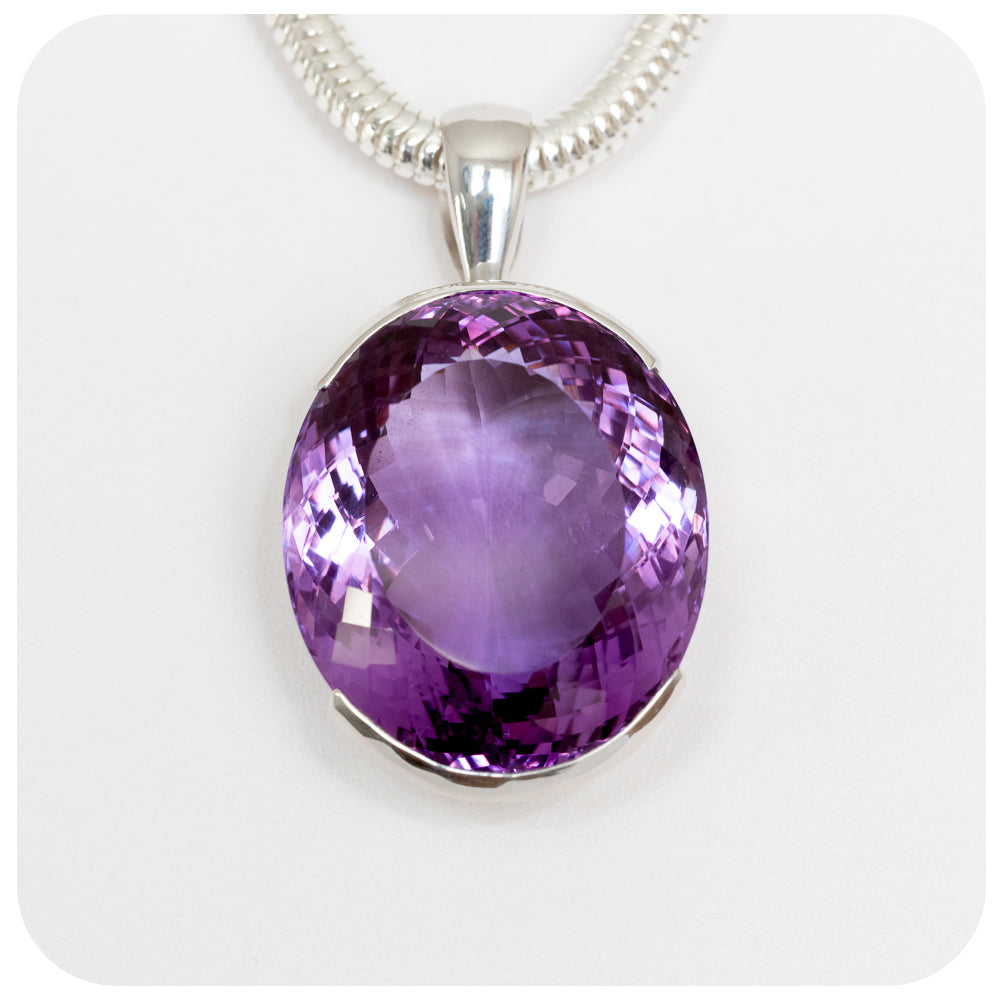 Strikingly large 27x24mm Oval Amethyst Pendant Crafted in 925 Sterling Silver - Victoria's Jewellery