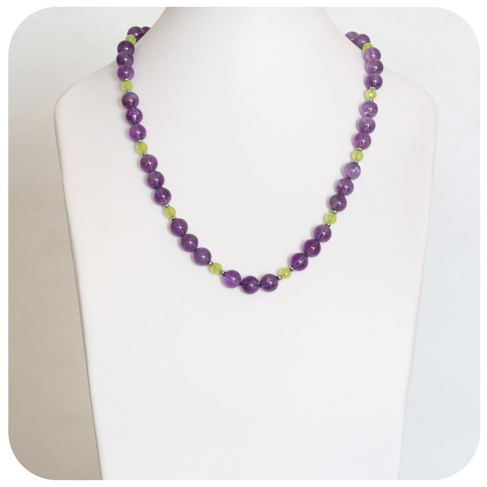 Royal Amethyst and Playful Prehnite Necklace - 55cm - Victoria's Jewellery