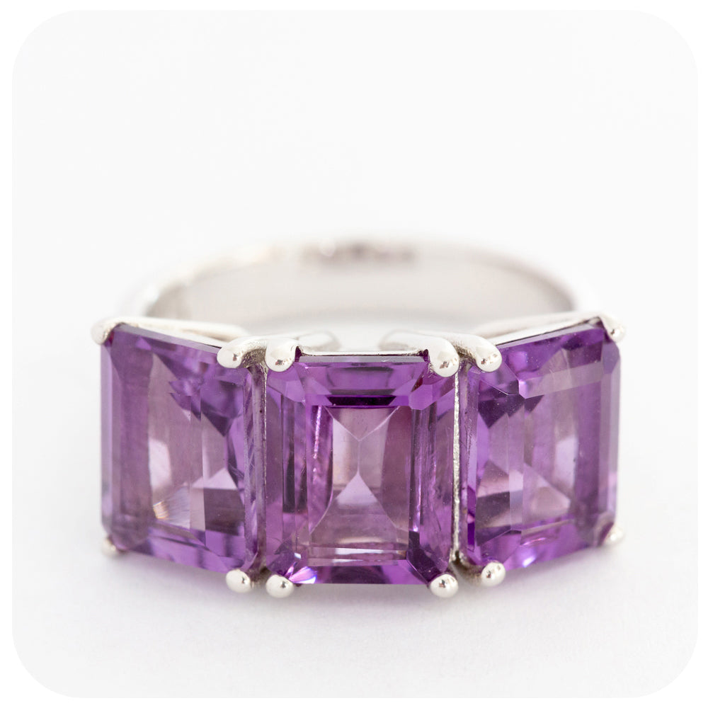 Emerald Cut Amethyst Trilogy Ring in Sterling Silver - Victoria's Jewellery