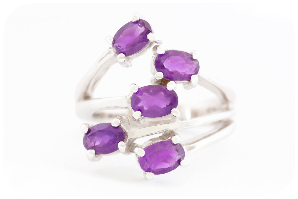 Amethyst Shooting Star Ring Joyfully Crafted in 925 Sterling Silver - Victoria's Jewellery