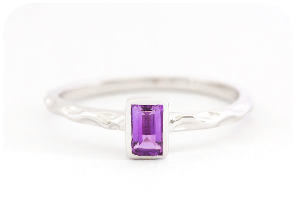 Emerald Cut Amethyst Ring Artfully Crafted in 925 Sterling Silver - Victoria's Jewellery