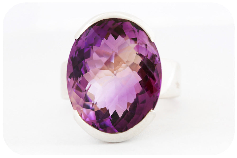 Spectacular Oval Cut Amethyst Ring Crafted in 925 Sterling Silver - Victoria's Jewellery