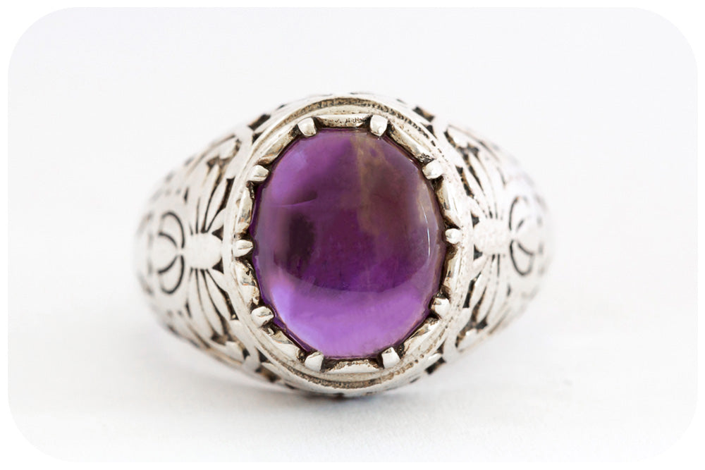 Oval Cabochon Amethyst Ring Artfully Crafted in 925 Sterling Silver - Victoria's Jewellery