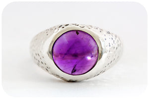 Textured Amethyst Cabochon Ring crafted in 925 Sterling Silver - Victoria's Jewellery