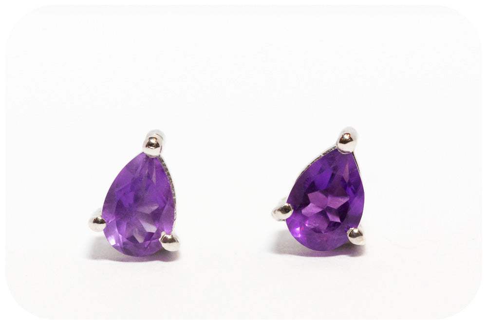 Richly Vibrant and Deeply Colored Pear Cut Amethyst Stud Earrings in 925 Sterling Silver - Victoria's Jewellery