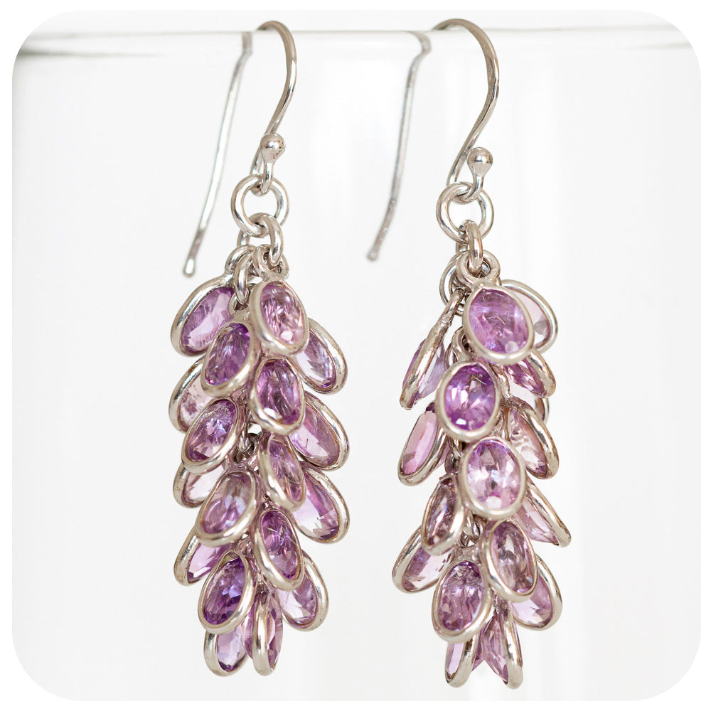Drop upon drop of pale Oval cut Amethyst Tassel Earring Crafted in 925 Sterling Silver - Victoria's Jewellery
