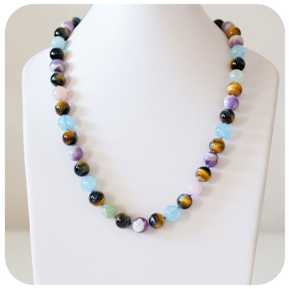Amethyst, Tiger's Eye and Aquamarine Necklace - Victoria's Jewellery
