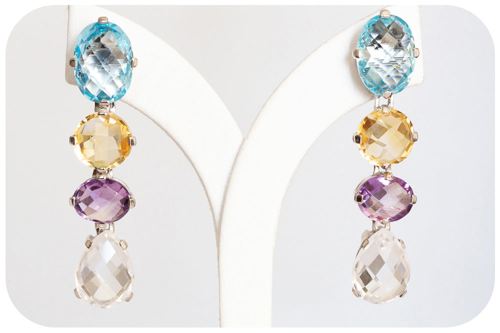 Drops of Sparkling Topaz, Citrine, Amethyst and Quartz crafted into 925 Sterling Silver Earrings - Victoria's Jewellery