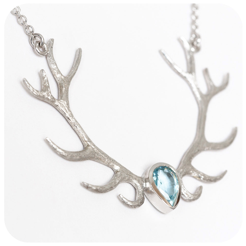 Antler Necklace with Aquamarine - Victoria's Jewellery