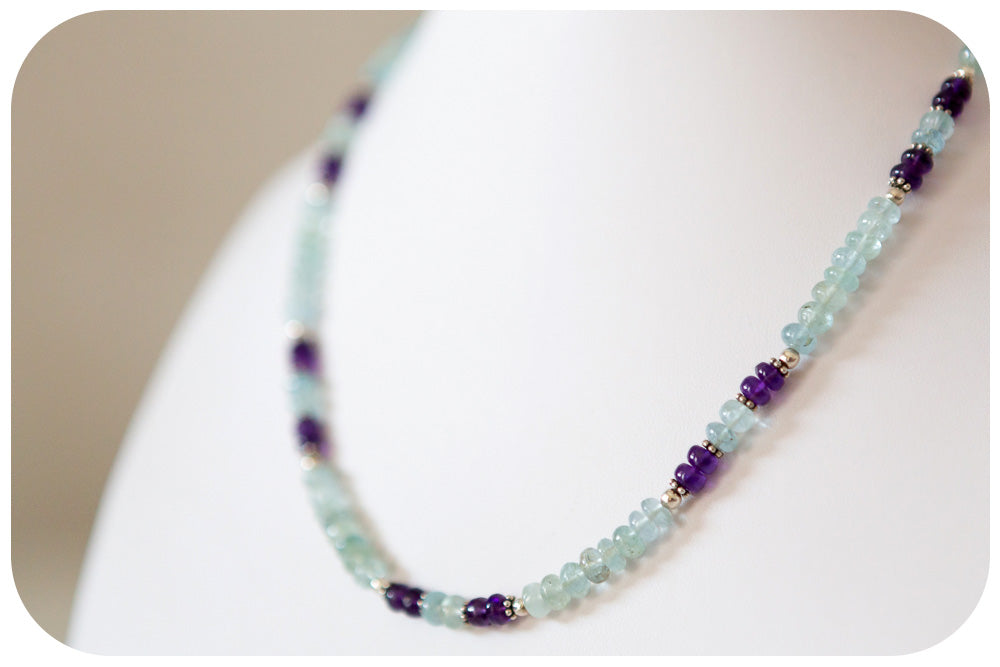 Aquamarine and Amethyst Necklace with Sterling Silver Detail