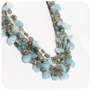Hand Crafted Aquamarine, Labradorite and Amazonite Necklace With 925 Sterling Silver - Victoria's Jewellery