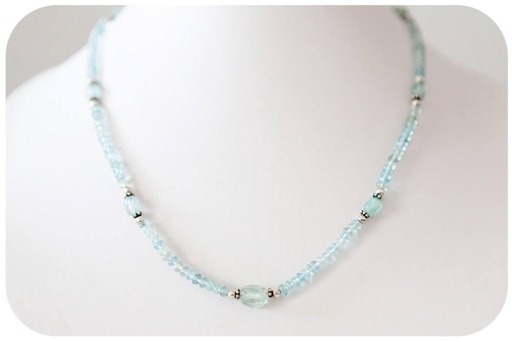Carved Aquamarine and Sterling Silver Detail Necklace