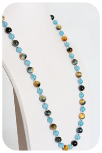 Aquamarine and Tiger's Eye Necklace - Victoria's Jewellery