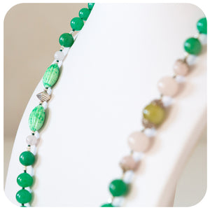 Aventurine, Rose Quartz and Vintage Glass Necklace with Sterling Silver Detail - Victoria's Jewellery