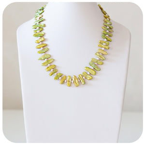 Green Biwa Pearls and 4.5mm Pink Fresh Water Pearl Necklace - Victoria's Jewellery