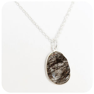 Black Rutile Quartz Necklace in Sterling Silver - Victoria's Jewellery
