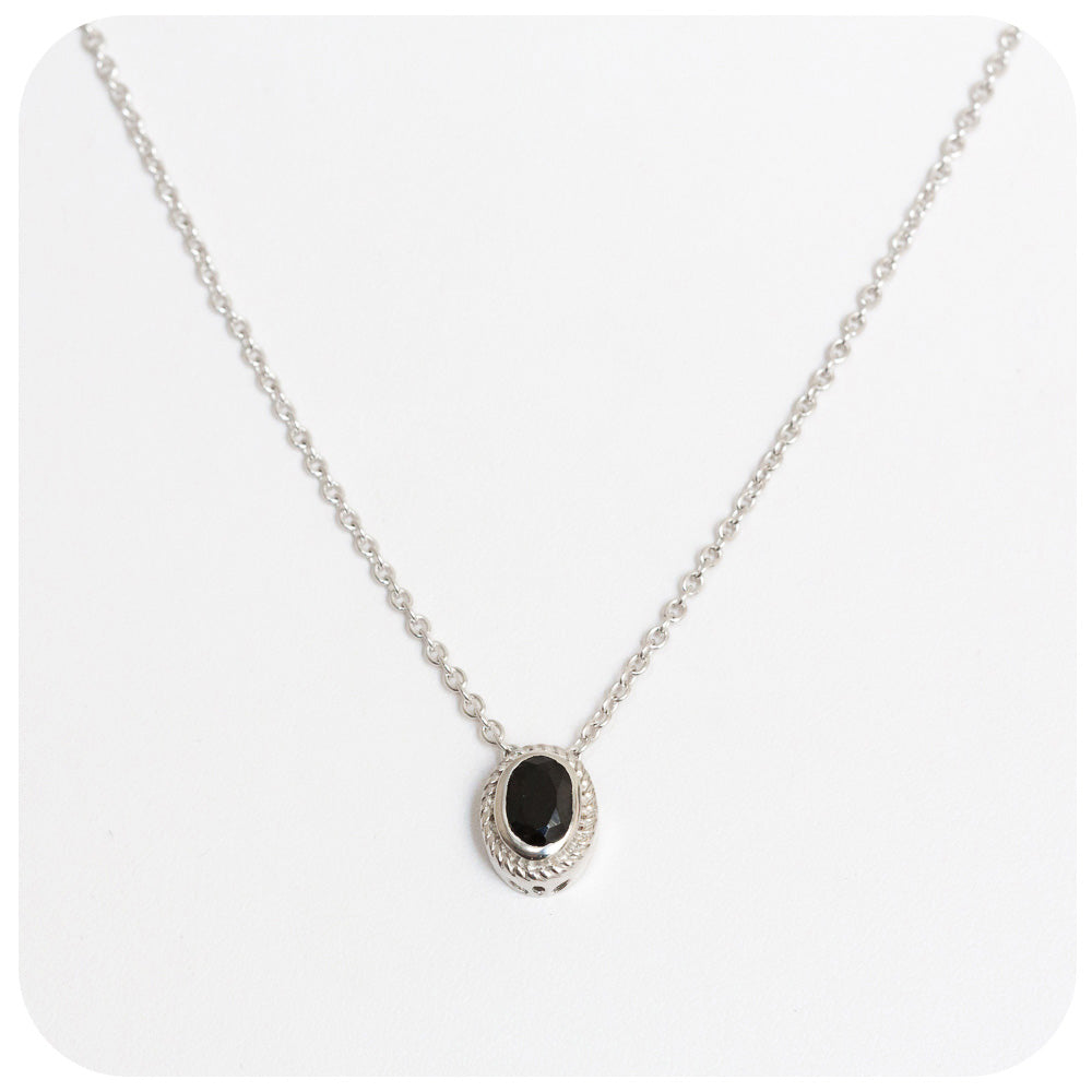 Oval Cut Solitaire Black Spinel Necklace - Victoria's Jewellery