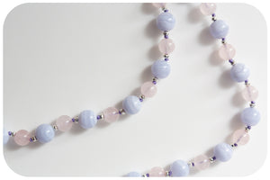 Softly Spoken Blue Lace Agate and Loving Rose Quartz Necklace Individually Knotted - Victoria's Jewellery