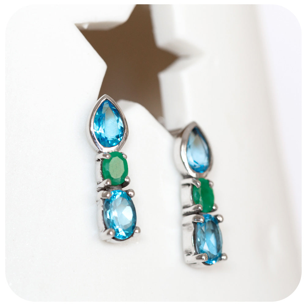 Blue Topaz and Green Agate Stud Earrings in Sterling Silver - Victoria's Jewellery