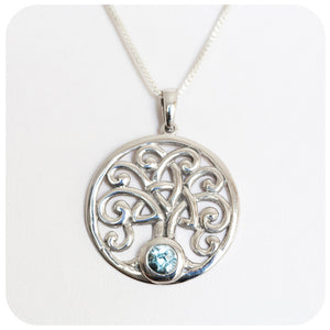 Blue Topaz Tree of Life Cut-Out Disc Pendant in 925 Sterling Silver - Victoria's Jewellery