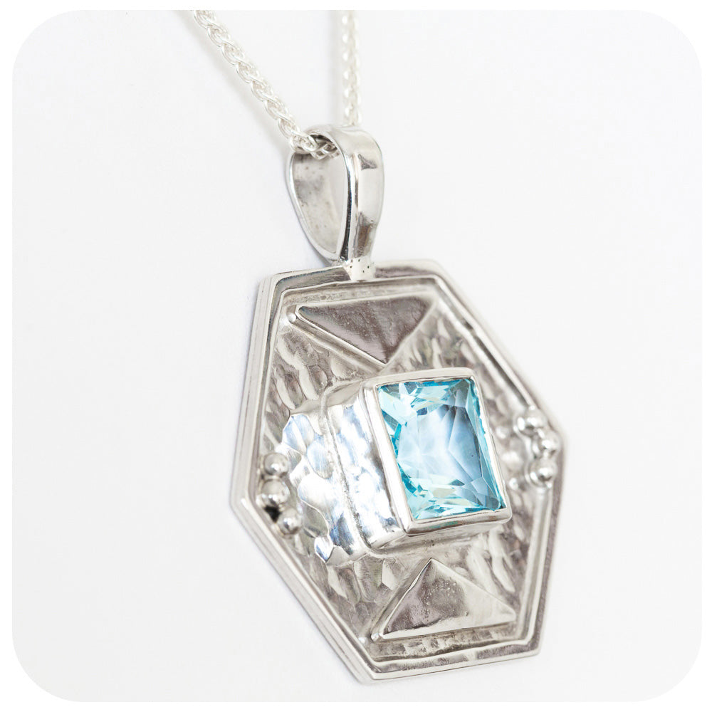 925 Sterling Silver Hand Made Pendant with Soft Sky Blue Topaz - Victoria's Jewellery