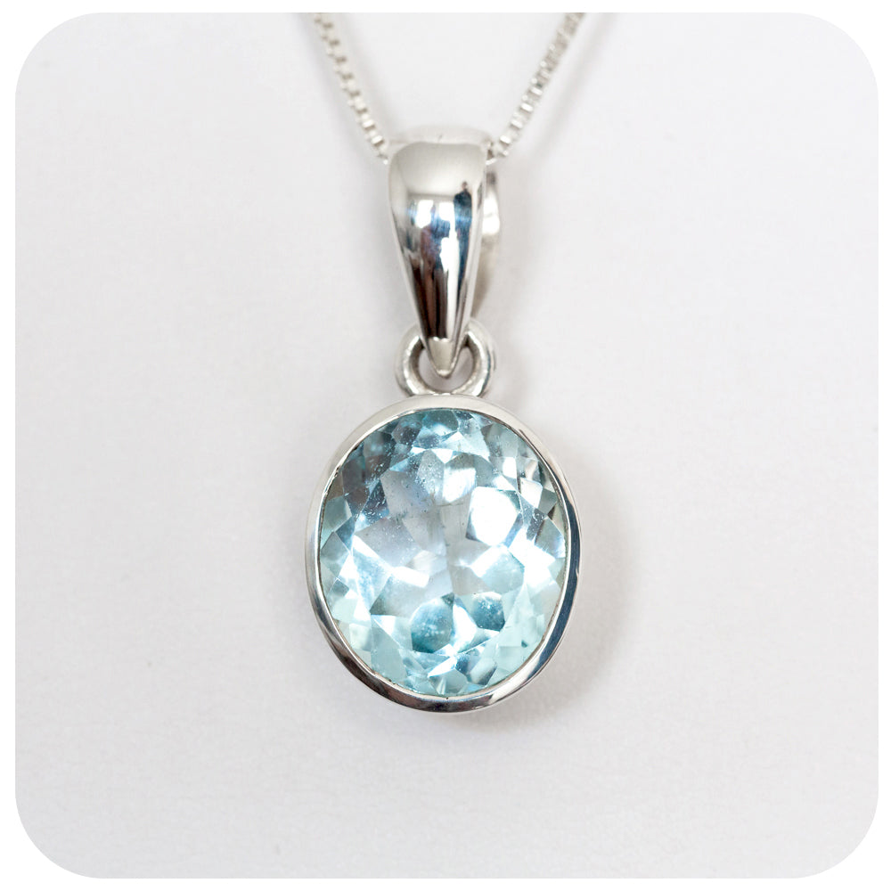 13x12mm Blue Topaz Pendant in Sterling Silver - Victoria's Jewellery